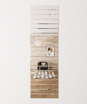ЗПС20 Зеркальное панно Серебро 720х2400мм прямоугольник 120х240 120х480мм, фацет 10мм