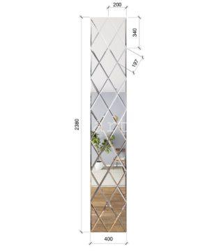 ЗПС22 Зеркальное панно Серебро 400х2380мм ромб 200х340мм, фацет 10мм