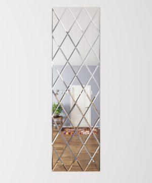 ЗПС23 Зеркальное панно Серебро 600х2040мм ромб 200х340мм, фацет 10мм
