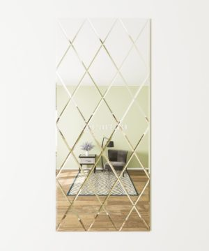 ЗПС28 Зеркальное панно Серебро 900х2040мм ромб 300х510мм, фацет 10мм