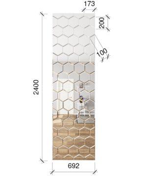 ЗПС29 Зеркальное панно Серебро 692х2550мм сота 200х173мм, фацет 10мм