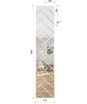 ЗПС2 Зеркальное панно Серебро 510х2550мм квадрат 180мм, фацет 10мм