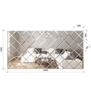 ЗПС3 Зеркальное панно Серебро 2040х1020мм квадрат 180мм, фацет 10мм