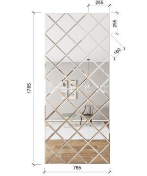 ЗПС4 Зеркальное панно Серебро 765х1785мм квадрат 180мм, фацет 10мм