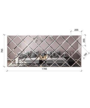 ЗПС6 Зеркальное панно Серебро 1785х765мм квадрат 180мм, фацет 10мм
