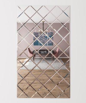 ЗПС7 Зеркальное панно Серебро 1020х1785мм квадрат 180мм, фацет 10мм