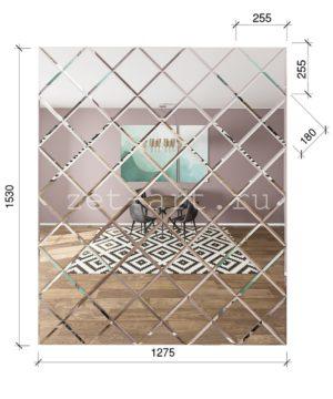 ЗПС8 Зеркальное панно Серебро 1530х1275мм квадрат 180мм, фацет 10мм